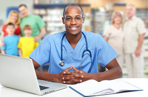 Pharmacist at Laptop